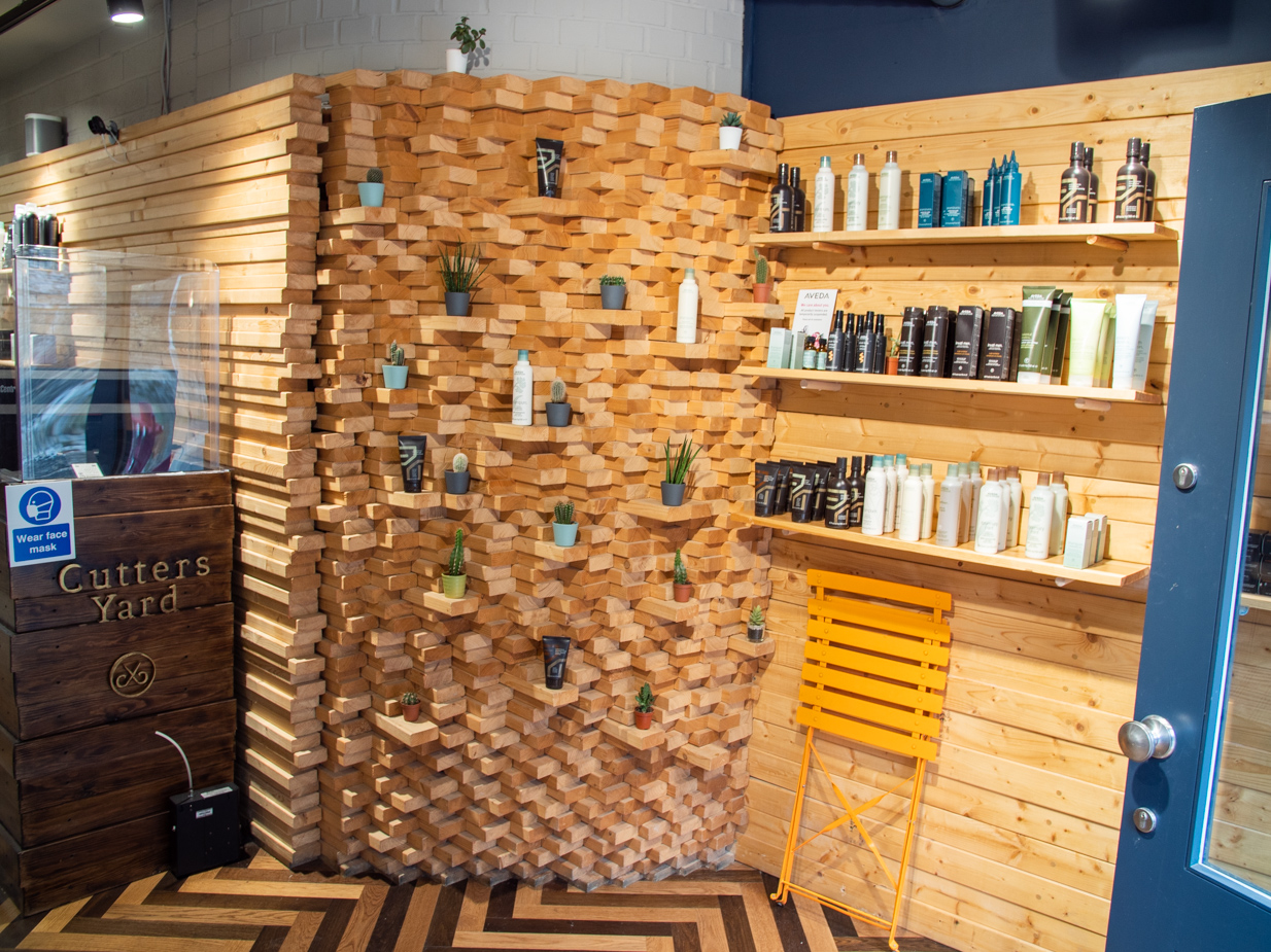 Shelf of grooming products